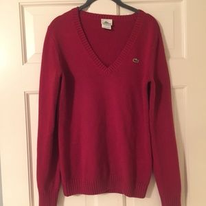 Red Lacoste V-Neck Sweater